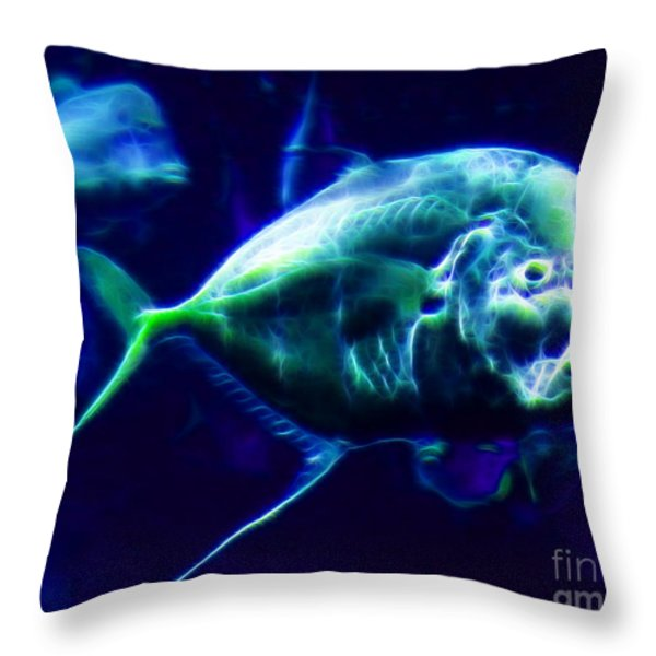 Big Fish Small Fish - Electric Throw Pillow by Wingsdomain Art and Photography