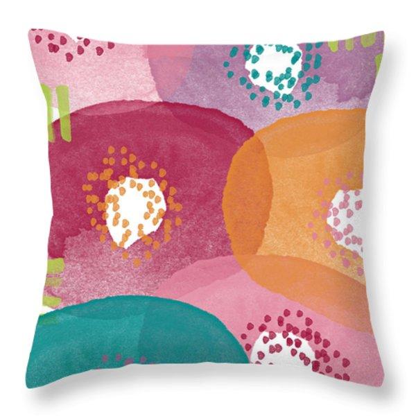 Big Garden Blooms- abstract florwer art Throw Pillow by Linda Woods