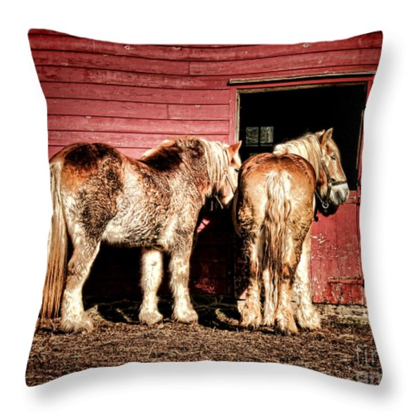 Big Horses Throw Pillow by Olivier Le Queinec