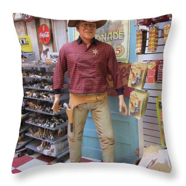 Big John Wayne Jefferson Texas Throw Pillow by Donna Wilson