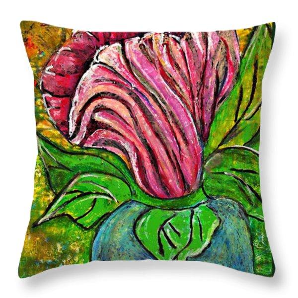 Big Pink Flower Throw Pillow by Sarah Loft