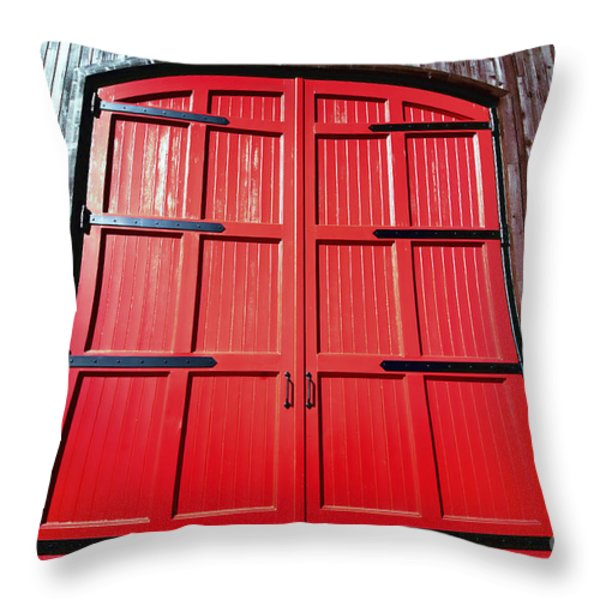 Big Red Doors Throw Pillow by Cheryl Young