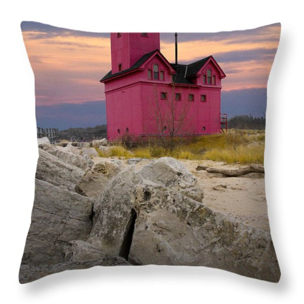 Big Red Lighthouse By Holland Michigan Throw Pillow by Randall Nyhof