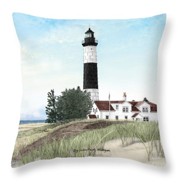 Big Sable Point Lighthouse Titled Throw Pillow by Darren Kopecky