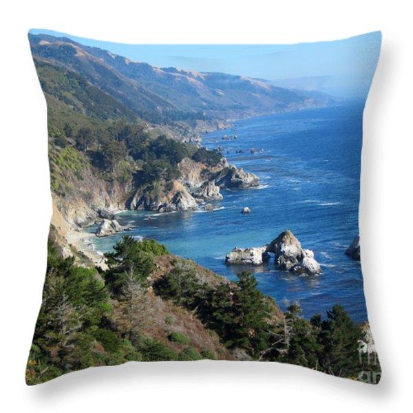 Big Sur Coast CA Throw Pillow by Debra Thompson