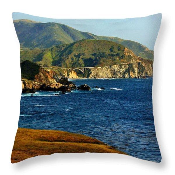 Big Sur Coastline Throw Pillow by Benjamin Yeager