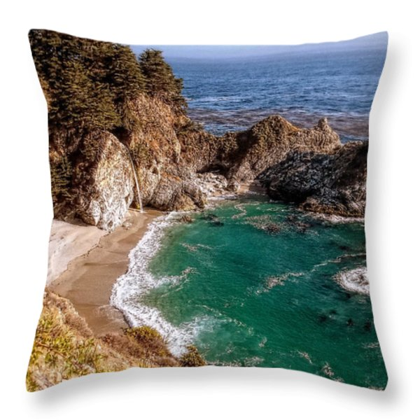 Big Sur - McWay Falls Throw Pillow by Glenn McCarthy Art and Photography