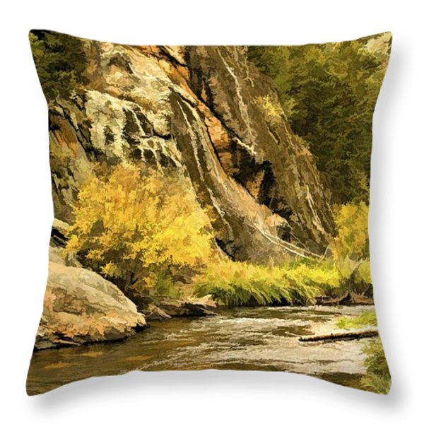 Big Thompson River 5 Throw Pillow by Jon Burch Photography
