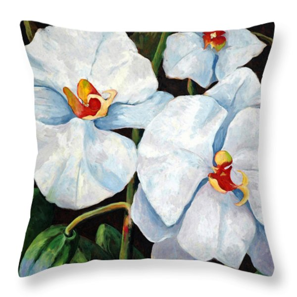 Big White Orchids - Floral Art By Betty Cummings Throw Pillow by Betty Cummings
