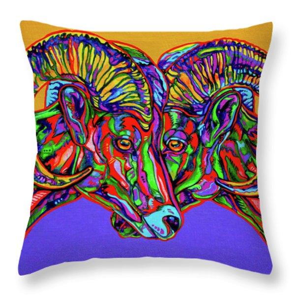Bighorn Sheep Throw Pillow by Derrick Higgins