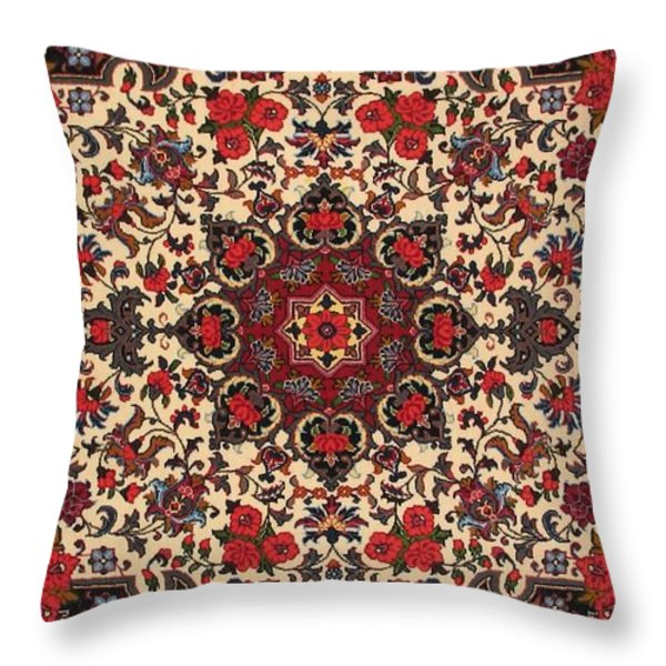 Bijar Red And Cream Silk Carpet Persian Art Poster Throw Pillow by Persian Art