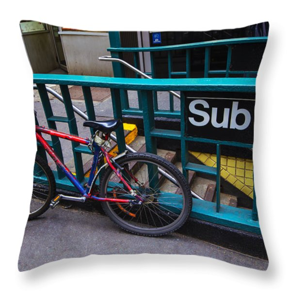 Bike at subway entrance Throw Pillow by Garry Gay