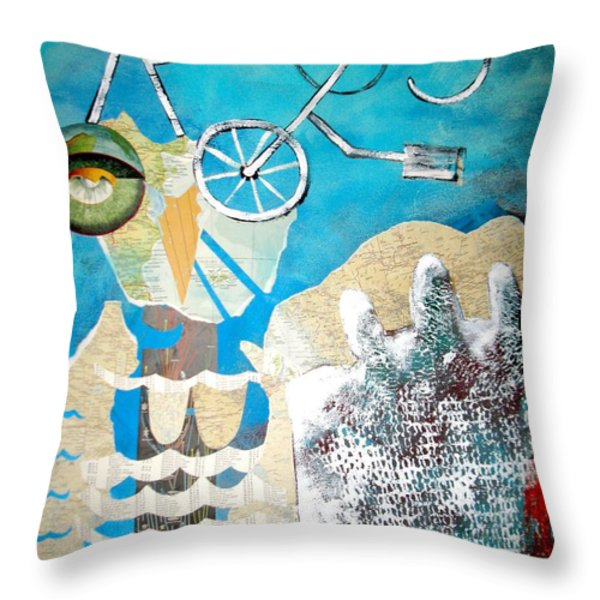 Bike Owl Throw Pillow by Amy Sorrell