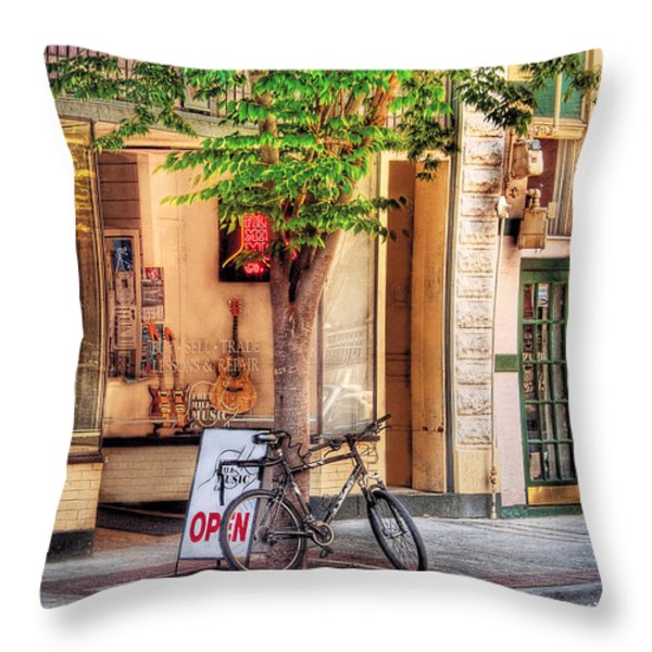 Bike - The Music Store Throw Pillow by Mike Savad