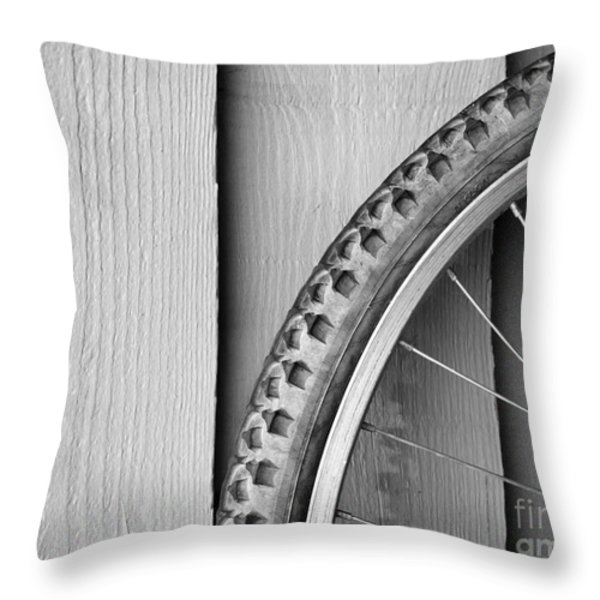 Bike Wheel Black and White Throw Pillow by Tim Hester