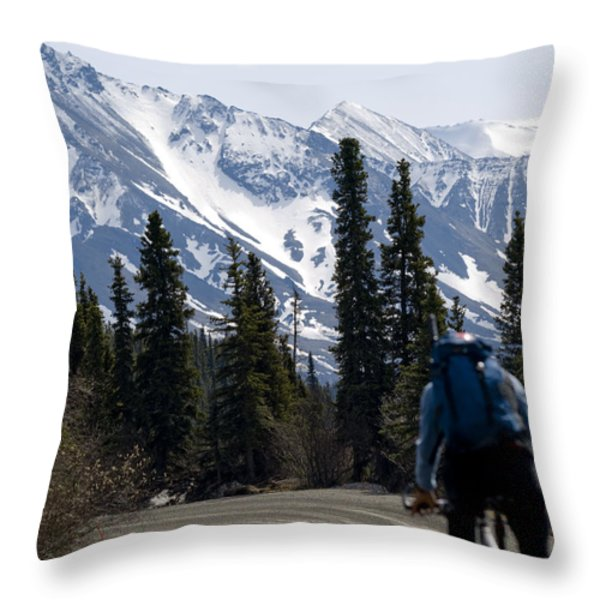 Biking Denali Style Throw Pillow by Tara Lynn