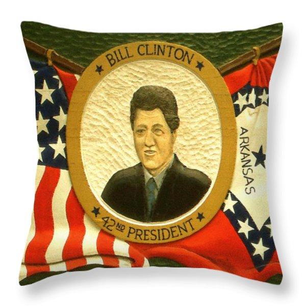 Bill Clinton 42nd American President Throw Pillow by Peter Fine Art Gallery  - Paintings Photos Digital Art