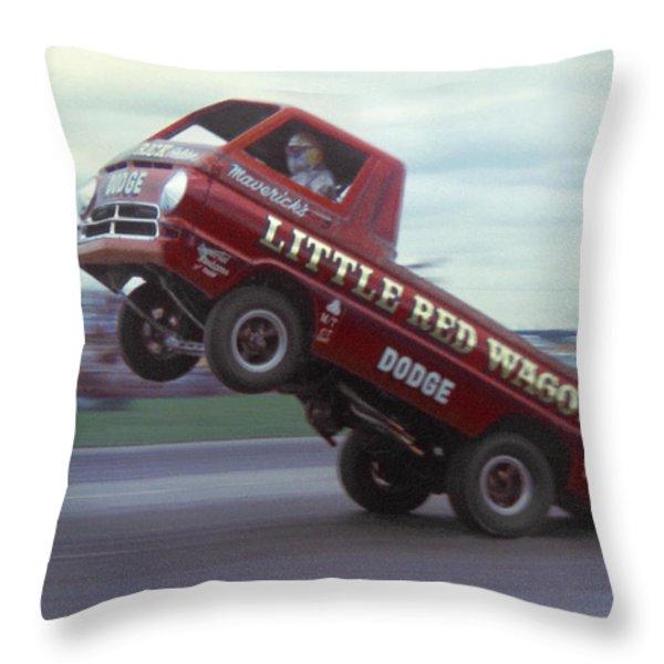 Bill Maverick Golden in the Little Red Wagon Throw Pillow by Mike McGlothlen