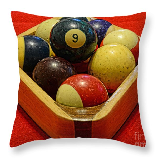 Billiards - 9 Ball - Pool Table - Nine Ball Throw Pillow by Paul Ward