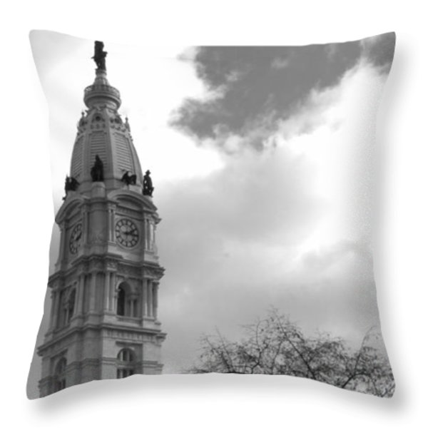 Billy Penn Vertical Bw Throw Pillow by Photographic Arts And Design Studio