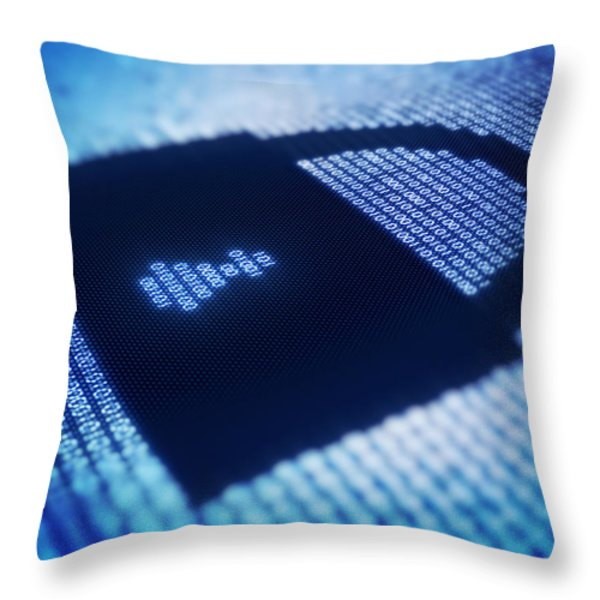 Binary code and lock shape on pixellated screen Throw Pillow by Johan Swanepoel