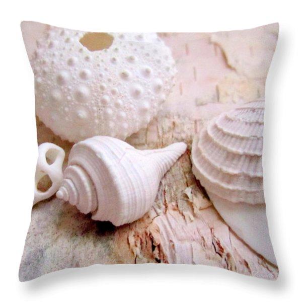 Birch And Shells Throw Pillow by Danielle  Parent