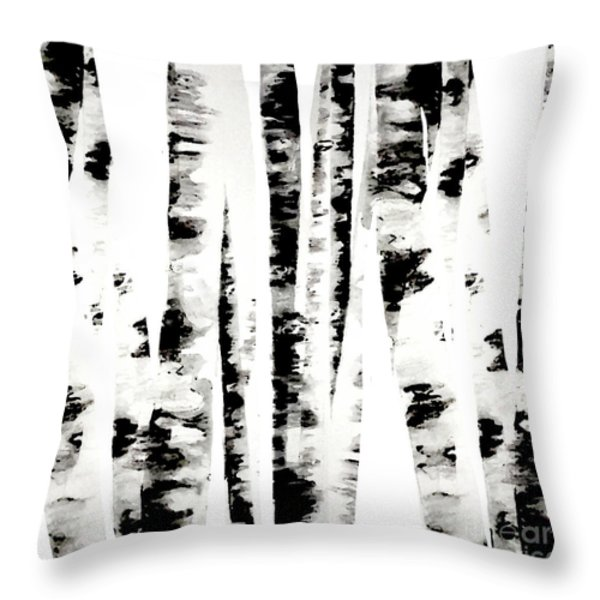 Birch Trees Throw Pillow by Budi Satria Kwan