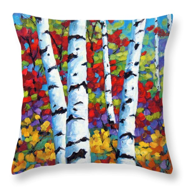 Birches in abstract by Prankearts Throw Pillow by Richard T Pranke