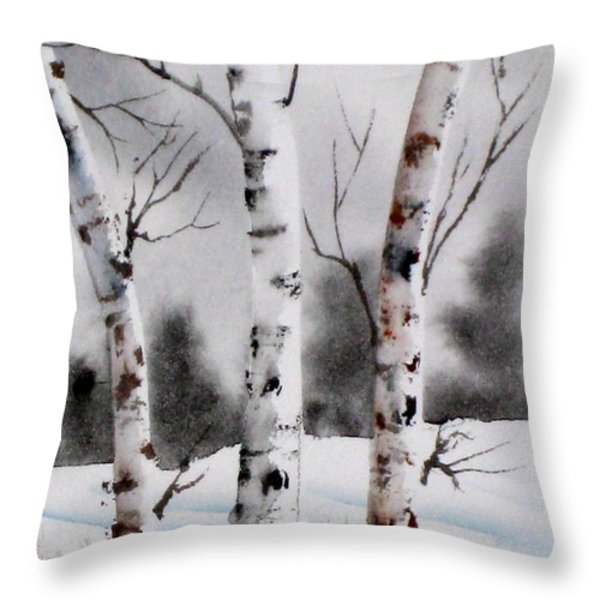 Birches Throw Pillow by Mohamed Hirji