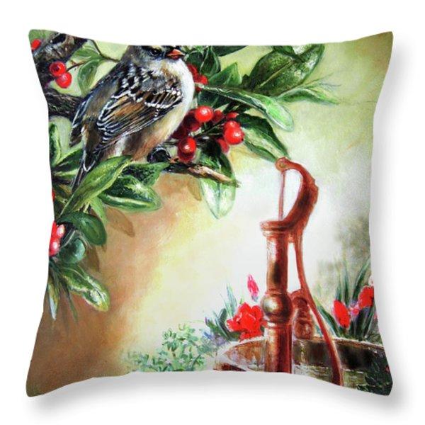 Bird And Berries Throw Pillow by Gina Femrite