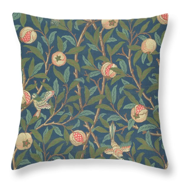 Bird and Pomegranate Throw Pillow by William Morris