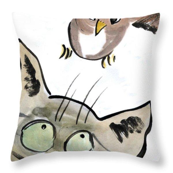 Bird Throw Pillow by Ellen Miffitt