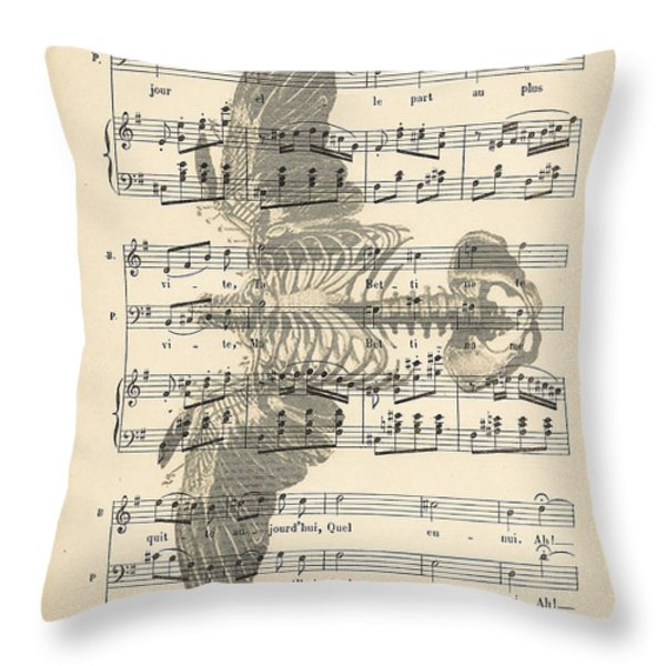 Bird Music Throw Pillow by Nomad Art And  Design