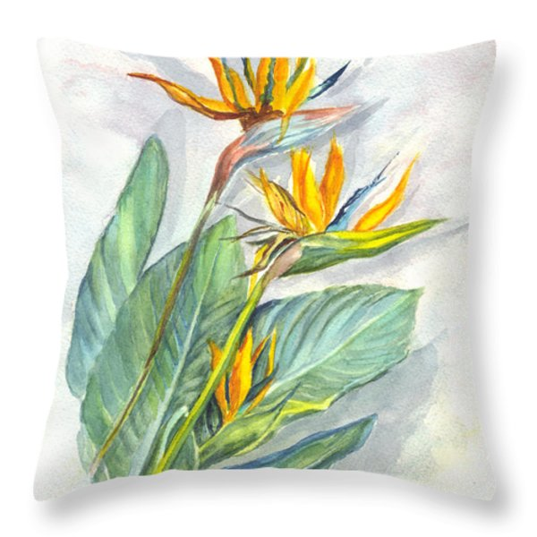 Bird Of Paradise Throw Pillow by Carol Wisniewski