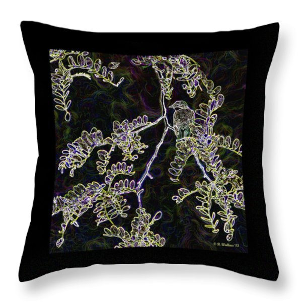 Bird On Branch Throw Pillow by Brian Wallace