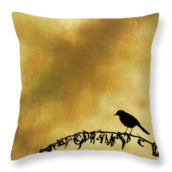 Bird On Branch Montage Throw Pillow by David Gordon
