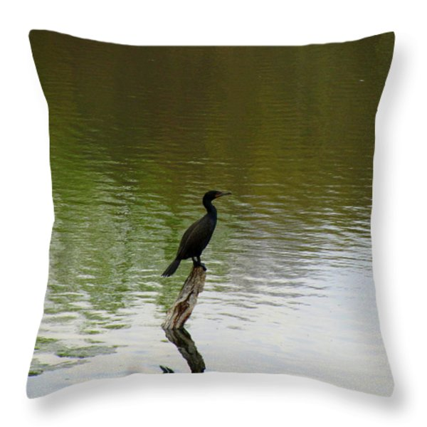 Bird On The Lake Throw Pillow by Avis  Noelle