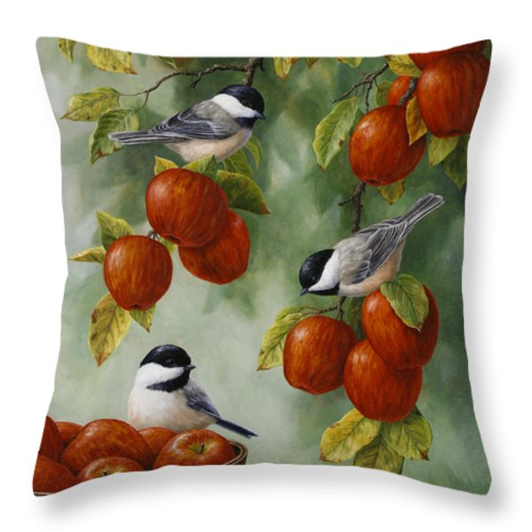 Bird Painting - Apple Harvest Chickadees Throw Pillow by Crista Forest
