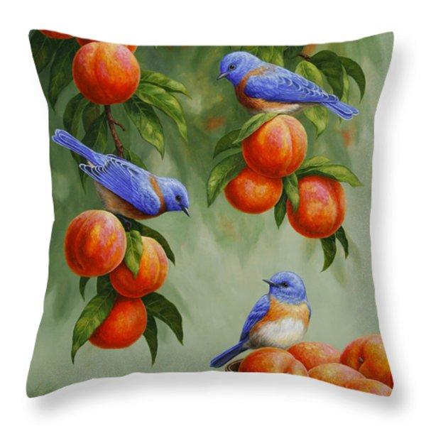 Bird Painting - Bluebirds And Peaches Throw Pillow by Crista Forest