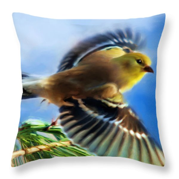 Bird Wings Of Song Throw Pillow by Christina Rollo
