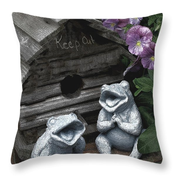 Birdhouse with Frogs Throw Pillow by Bonnie Willis