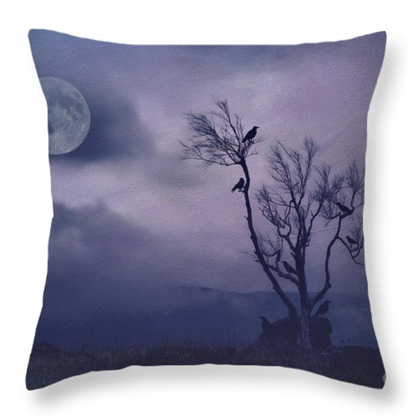 Birds in the Night Throw Pillow by Darren Fisher