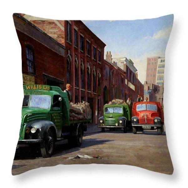 Birmingham Fruit And Veg Market. Throw Pillow by Mike  Jeffries