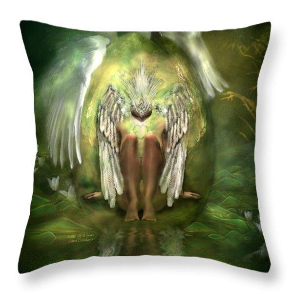 Birth Of A Swan Throw Pillow by Carol Cavalaris