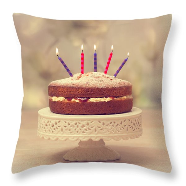 Birthday Cake Throw Pillow by Amanda And Christopher Elwell