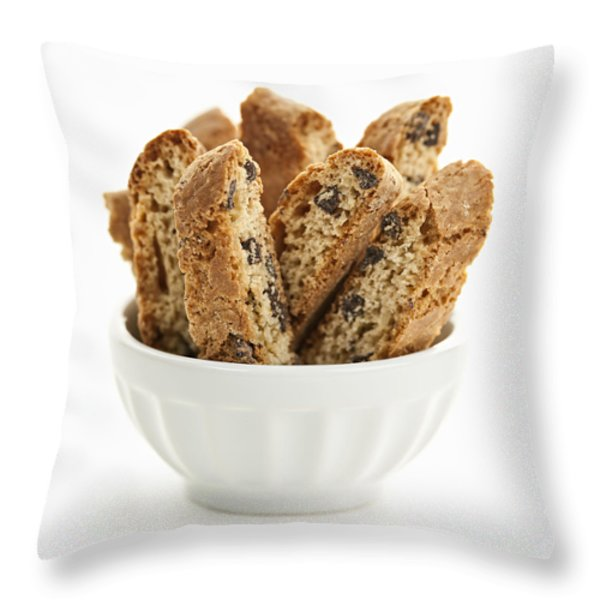 Biscotti cookies in bowl Throw Pillow by Elena Elisseeva