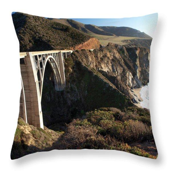 Bixby Bridge Afternoon Throw Pillow by Joe Schofield