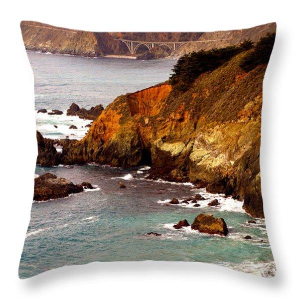 Bixby Bridge of Big Sur California Throw Pillow by Barbara Snyder
