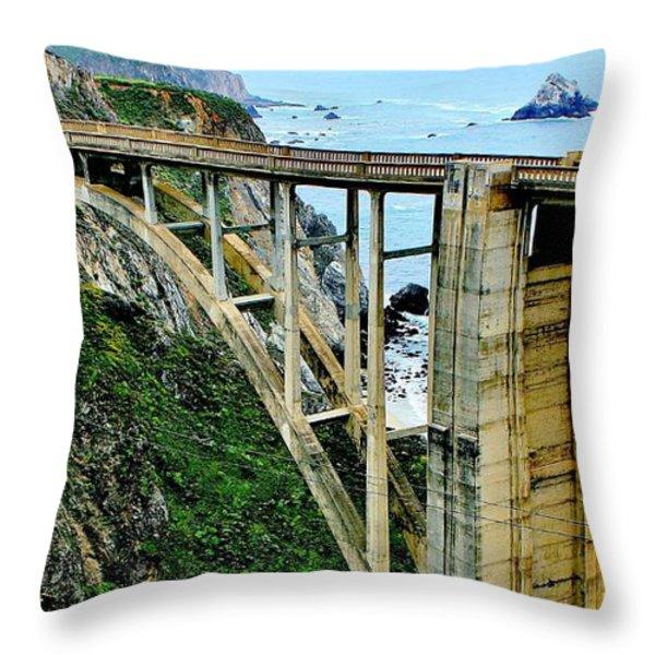 Bixby Creek Bridge Panorama Throw Pillow by Benjamin Yeager