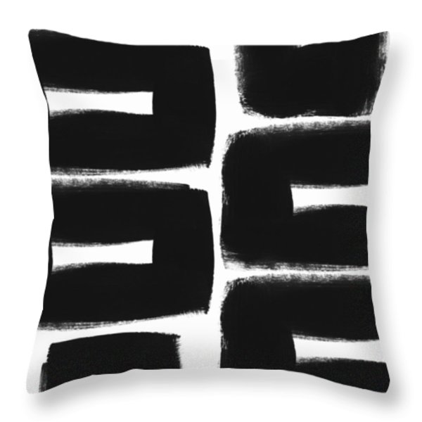 Black And White Abstract- Abstract Painting Throw Pillow by Linda Woods